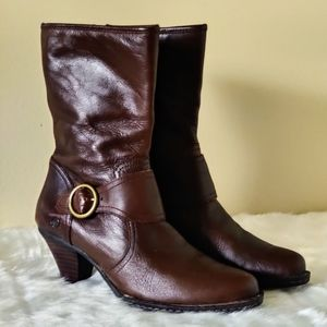 Born Leather Buckle Heeled Boots